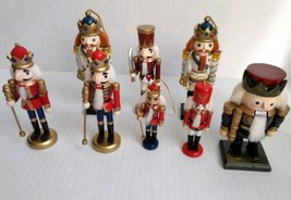 """Wooden Nutcrackers Toy Soldiers Ornaments 5"""" to 8"""" Christmas Holiday Lot... - $38.99"""