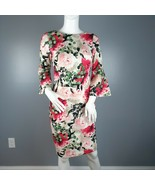 Calvin Klein Womens Sheath Dress Size 2 Floral Print Bell Sleeves Exposed Zipper - $21.78