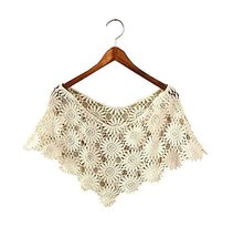 Women's Hollow-out Shawl Capelet Short Shirt Blouse, Chrysanthemum, Beige