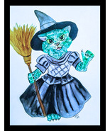 Oz Kitten Wicked Witch Watercolor Artwork - $25.00