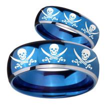His Hers Multiple Skull Pirate Dome Blue 2 Tone Tungsten Custom Mens Rin... - $79.98