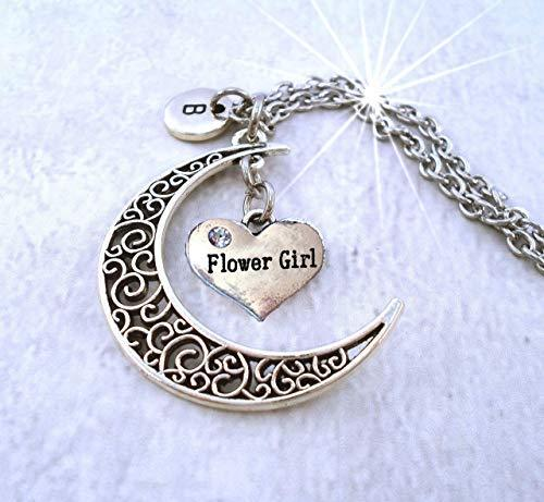 Primary image for Flower Girl Filigree Crescent Moon Necklace with Letter Charm of Your Choice * H
