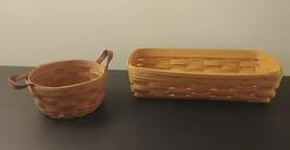 Vtg Lot 2 Longaberger Baskets Bread Appetizer Rectangle & Small Round 1989 Ret - $57.09