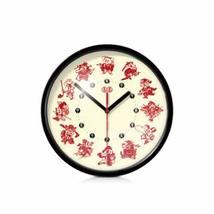 8-inch Chinese Characteristics Wall Clock(Twelve Zodiac Paper-cut),BLACK - $34.14
