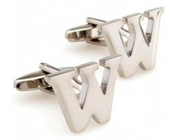 Designer Silver Letter W Mens Cufflinks by Frederick Thomas FT1303 Wedding
