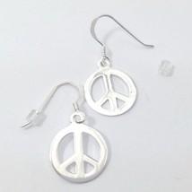 Sterling Silver Peace Sign Dangle Drop Earrings 925 - $19.00