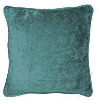 """CRUSHED VELVET TEAL RING TOP CURTAINS *8 SIZES* & 4 X 17"""" FILLED CUSHIONS - $86.03+"""