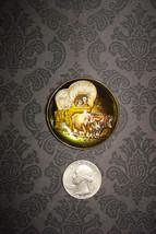 Vintage Glass Handpainted Saddle Rosette/Pin Western Americana - $118.40