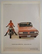 1963 Print Ad Wide Track Pontiac Tempest Convertible & Lady on Motorcycle - $15.79