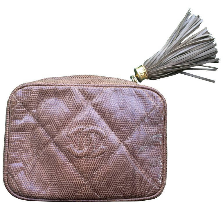 aaaa2e3f3358 Il fullxfull.1294514978 6rzv. Il fullxfull.1294514978 6rzv. Previous. Vintage  CHANEL cocoa brown lizard camera bag type clutch bag with fringe ...