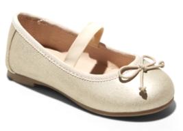Cat & Jack Baby Girls' Satin Gold Becca Wedding Flower Girl Slip-On Ballet Flats
