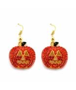 JACK O LANTERN EARRINGS Sparkling Orange Rhinestone Pumpkin Halloween Je... - $7.95