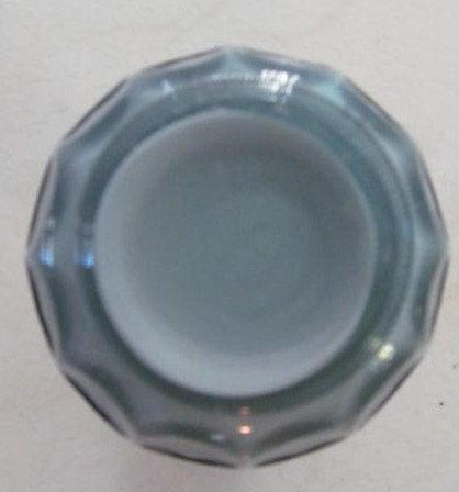 Vintage Fenton Ruffle Handblown Gray With White Overlay Pressed Glass Design, Mi