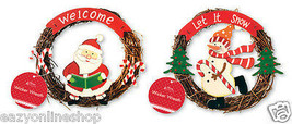 CHRISTMAS WREATH SNOWMAN & SANTA CLAUSE DOOR WELCOME HOME WALL DECORATIO... - $8.60
