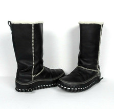 Nike Valenka Faux Fur Lined Black Leather Boots 8 39 Puddle Proof ACG Co... - $65.33