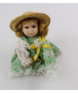 """Miniature 6"""" Porcelain Doll light green dress hat collectible toy NWOT - $20.00"""