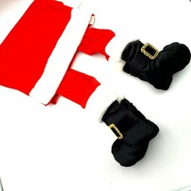 Santa Hanging Legs Novelty Christmas Table Runner Red Plush Buckle Boots - $19.88