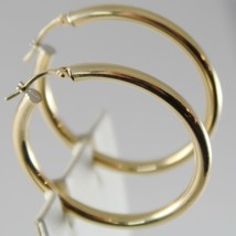 18K YELLOW GOLD EARRINGS BIG CIRCLE HOOP 35 MM 1.38 INCH DIAMETER MADE IN ITALY image 2