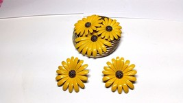 Gorgeous Yellow Enamel Sunflower Pin Vintage clip on Earrings - $17.99
