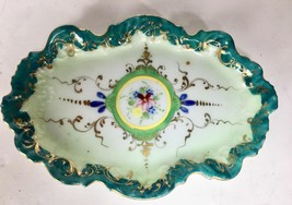"""Antique Porcelain 6"""" x 4"""" Teal Floral pin tray w/ gold accents / Handpai... - $31.68"""