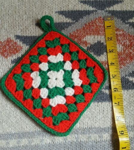 Primary image for Antique Christmas Winter Holiday Kitchen Pot Holder • Handmade • Pre-owned 6x6""