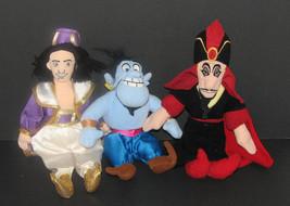 Lot of 3 Disney Aladdin Beanbag Plush Toys Aladdin Genie Jafar - $16.98