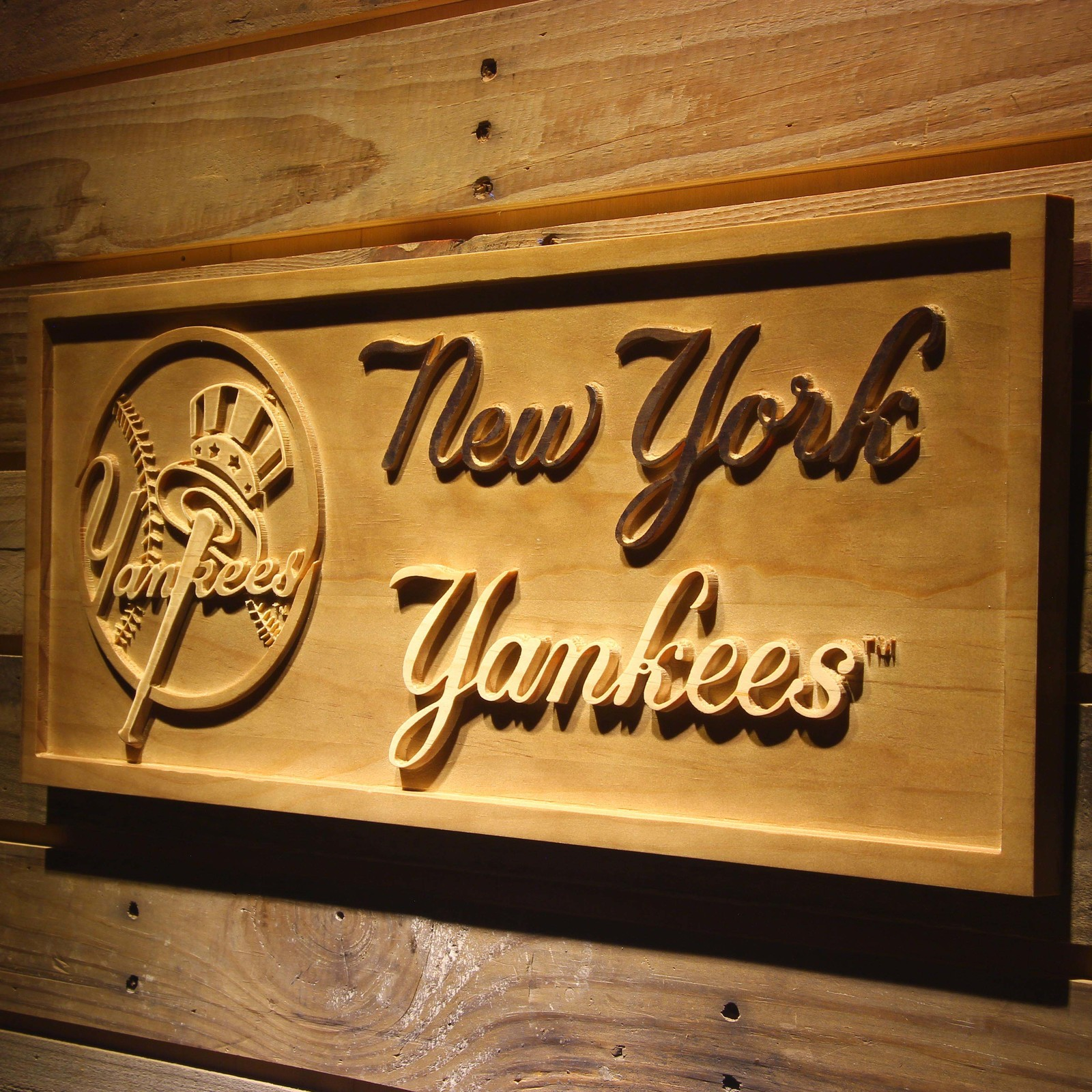 New York Yankees Home Decor: New York Yankees MLB Baseball Team Wooden Sign Wall Art