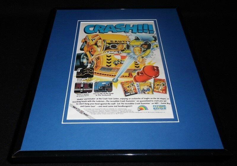 Crash Test Dummies 1993 NES Nintendo 11x14 Framed ORIGINAL Vintage Advertisement