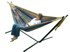 Vivere Double 2 Person Hammock w/ Space Saving Steel Stand Outdoor Patio... - $108.87