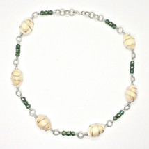 Necklace the Aluminium Long 48 Inch with Seashells Hematite and Crystals Strass image 2