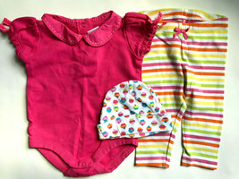 Girl's Size 6M 3-6 Months Two Piece Gymboree Pink Top, Striped Leggings + Cap - $22.50