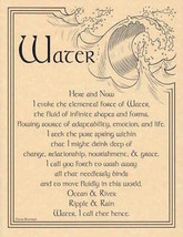 Water Evocation Parchment-Like Page for Book of Shadows, Altar! - $1.85