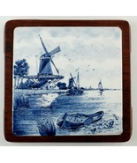 2 Blue & White Delft Windmill Tile & Wood Trivets - $5.00