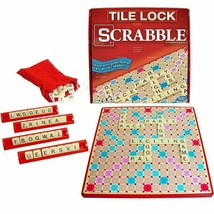 Super Scrabble Deluxe Edition Tile Lock Rotating Board Game Winning Moves - $17.84