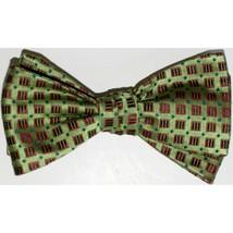 """Men's Bow Tie Green Silk Geometric SELF TIE Bowtie 2.5"""" wide - $14.99"""