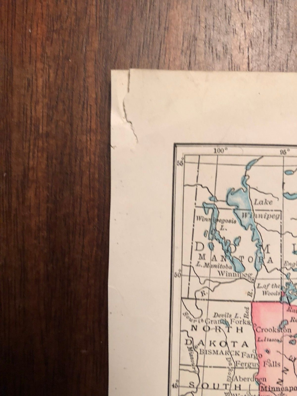 """Vintage Color Map of EASTERN UNITED STATES USA Print Plate 7"""" x 9"""" Unframed"""