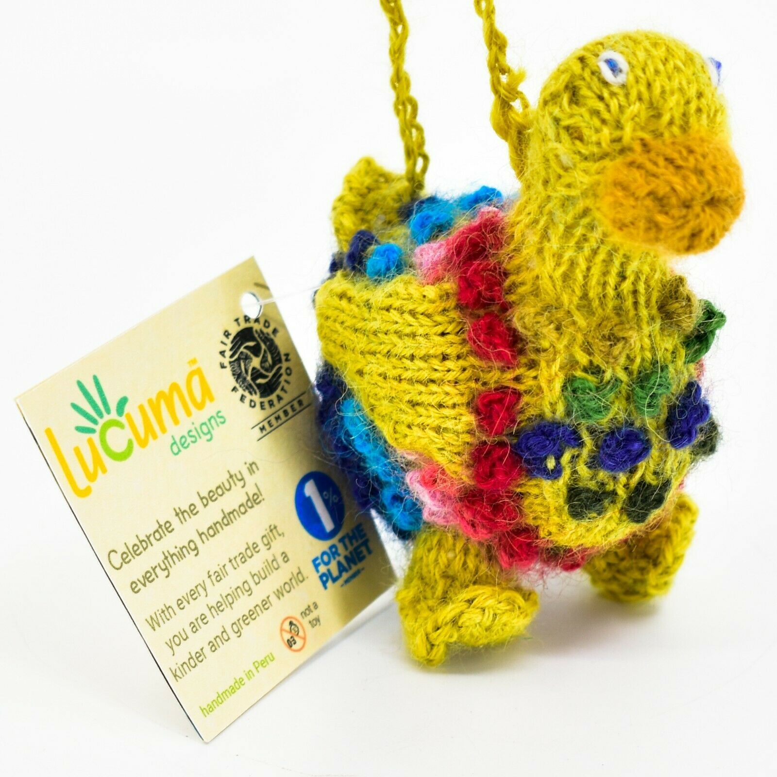 Handknit Alpaca Wool Whimsical Hanging Duck Bird Ornament Handmade in Peru