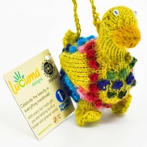 Handknit Alpaca Wool Whimsical Hanging Duck Bird Ornament Handmade in Peru