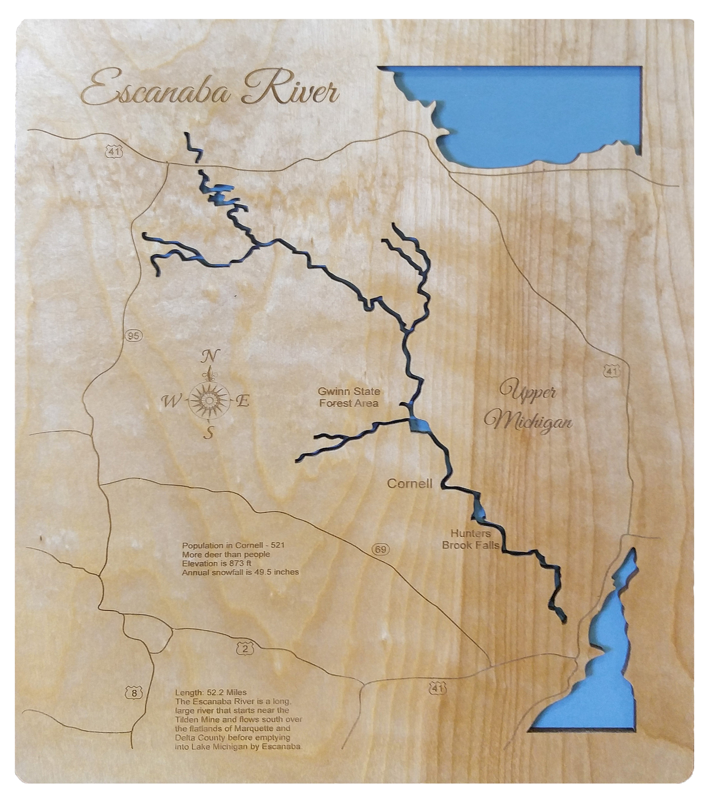 Escanaba River, Michigan - Wood Laser Cut Map - Wall Hanging