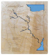 Escanaba River, Michigan - Wood Laser Cut Map - Wall Hanging - $124.99+