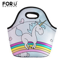 FORUDESIGNS Neoprene Lunch Bag For Women Cute Cartoon Unicorn Prints The... - $28.79
