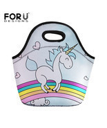 FORUDESIGNS Neoprene Lunch Bag For Women Cute Cartoon Unicorn Prints The... - $37.44 CAD
