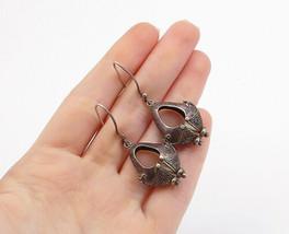 925 Sterling Silver - Vintage Dark Tone Swirl Detail Dangle Earrings - E... - $32.74
