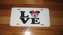 Walt Disney Logo w/ MINNIE MOUSE LOVE Aluminum License Plate,Custom sublimated t - $12.99