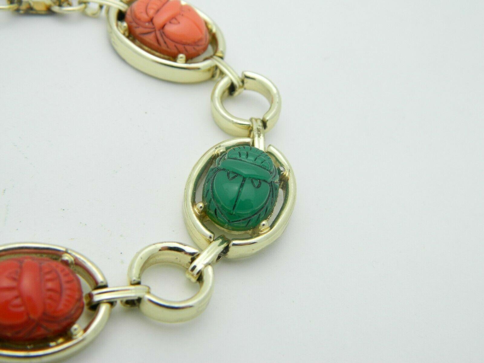 Multi-Color Lucite Carved Egyptian Scarab Gold Tone Bracelet Vintage image 3