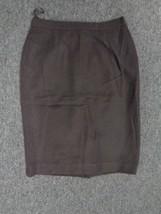 ANNE KLEIN Dark Brown Flat Front Back Zipper Straight Skirt Size 10 SMA6... - $29.67