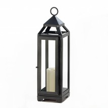 Candle Lantern, Outdoor Decorative Patio Tall Slate Black Metal Candle L... - $24.99