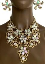 Floral Bavoir Ensemble Collier Aurore Boréale Acrylique Strass Drag Reine Miss - $31.41