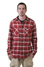 Kr3w Skateboarding Mens Red Grants Flannel Long Sleeve Button Up Down Shirt NWT
