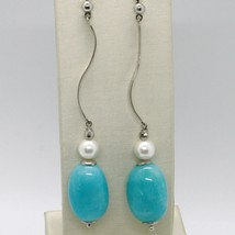 Earrings Silver 925 Tried and Tested with White Pearl Beads & Jade Pale Blue image 1